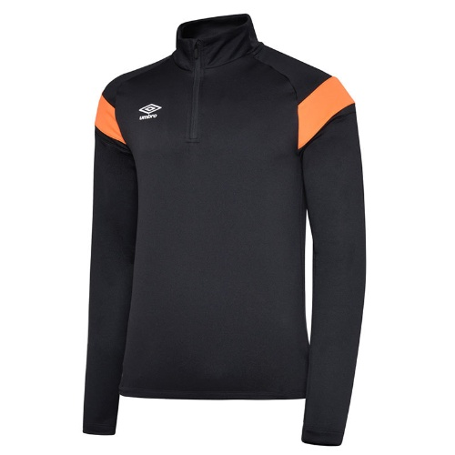 Umbro quarter zip jumper black and orange